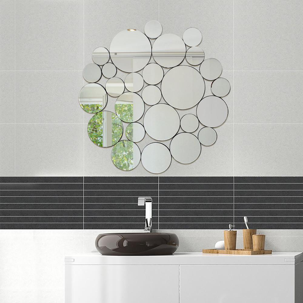 Medium Round Hooks Mirror (39 in. H x 40 in. W)