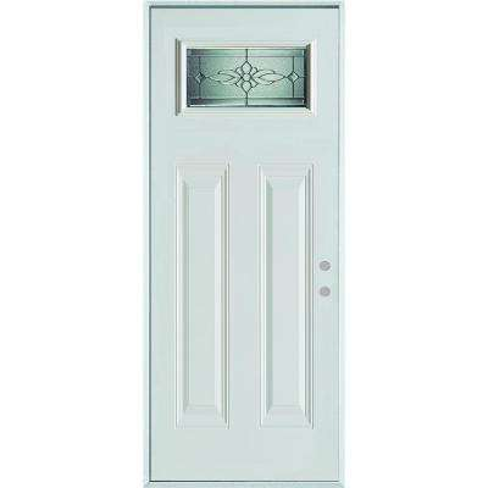 36 in. x 80 in. Victoria Zinc Rectangular Lite 2-Panel Prefinished White Left-Hand Inswing Steel Prehung Front Door