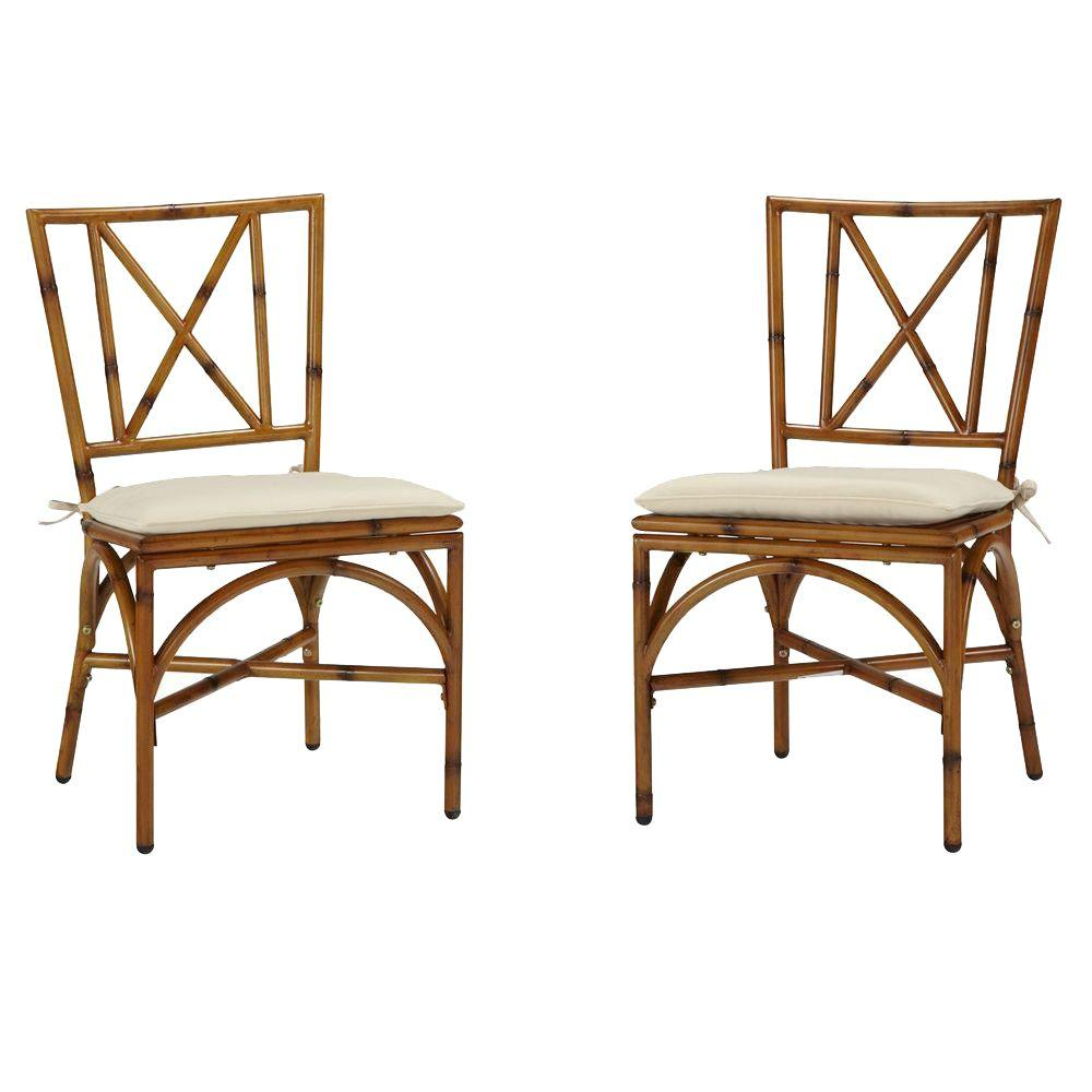 Home Styles Bimini Jim Natural Bamboo Aluminum Patio Dining Chair with Cream Cushion (2-Pack)