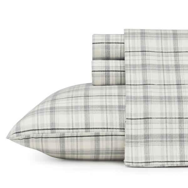 3-Piece Beacon Hill Gray Plaid Flannel Twin Sheet Set
