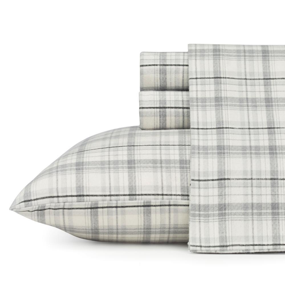 Eddie Bauer Flannel Sheet Sets 4-Piece Beacon Hill Grey Plaid Queen Sheet Set