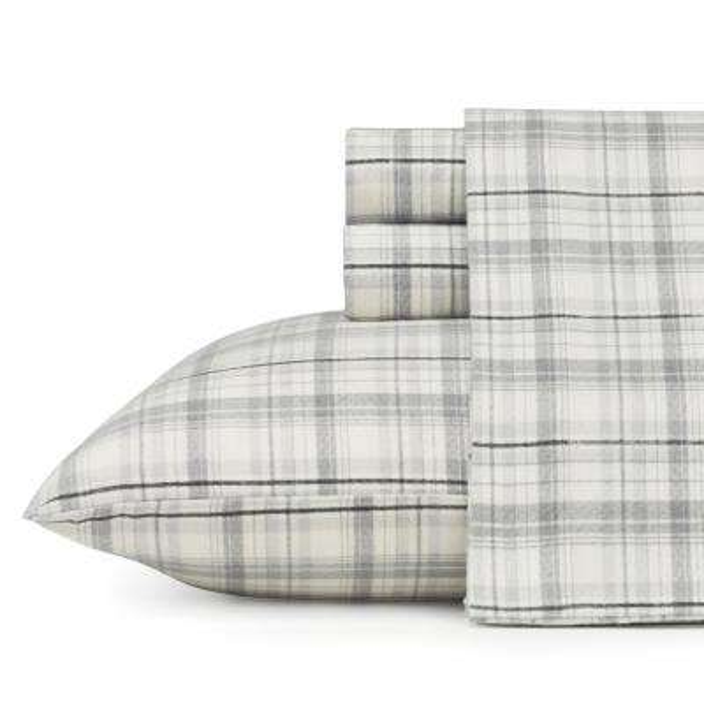 Beacon Hill Grey Cotton Flannel King Sheet Set