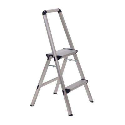 Ultra 2-Step Light Weight Aluminum Stool Folding Step Stool with Handle Type II 225 lb. Duty Rating