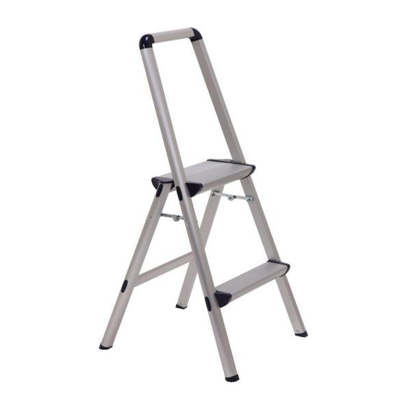Ultra 2-Step Light Weight Aluminum Stool Folding Step Stool with Handle Type II 225 lbs. Duty Rating