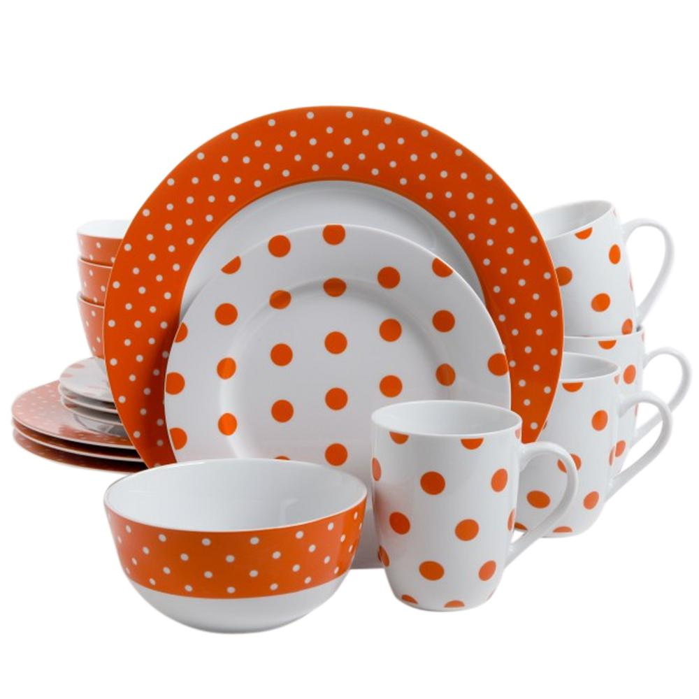 Dot Luxe 16-Piece Orange Porcelain Dinnerware Set