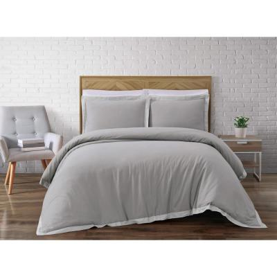 Brooklyn Loom Wilson Grey Full/Queen Duvet Set