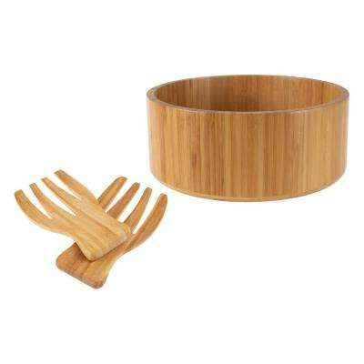 10.25 in. Round Bamboo Salad Bowl with Utensils