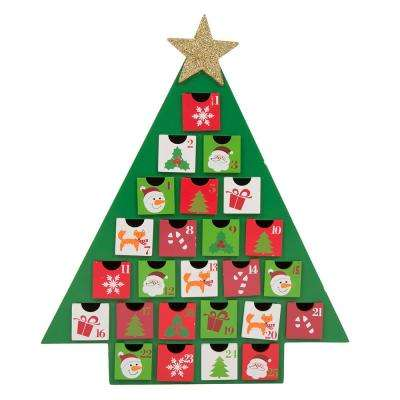 14 in. H Wooden Tree Count Down Calendar w Drawer