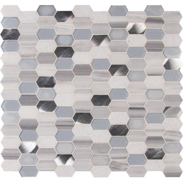 Harlow Picket 11.5 in. x 12.4 in. x 8 mm Textured Multi-Surface Mesh-Mounted Mosaic Tile (9.90 sq. ft. / case)