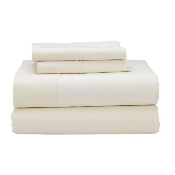 The Company Store Classic Solid 3-Piece Ivory 350-Thread Count Sateen Twin
