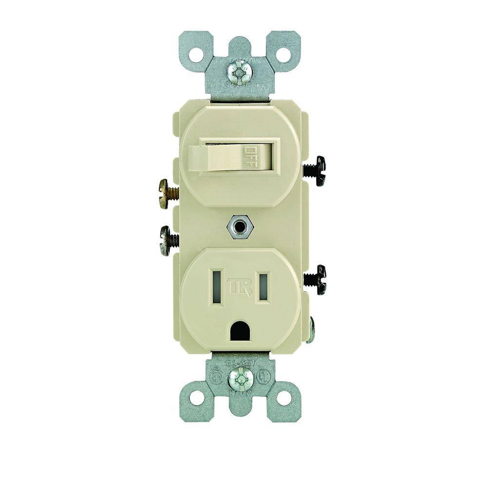 Leviton 15 Amp Tamper-Resistant Combination Switch and Outlet, Ivory ...