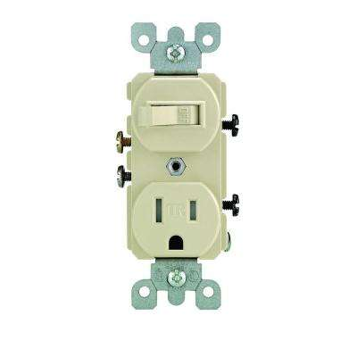 15 Amp Tamper-Resistant Combination Switch and Outlet, Ivory