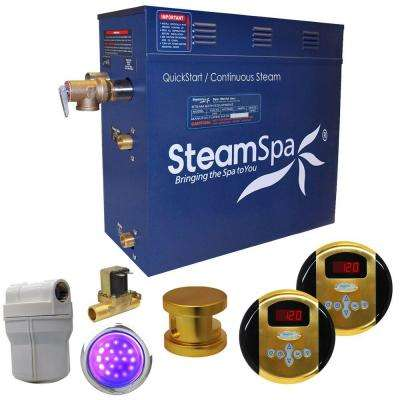 Royal 6kW QuickStart Steam Bath Generator Package with Built-In Auto Drain in Polished Gold
