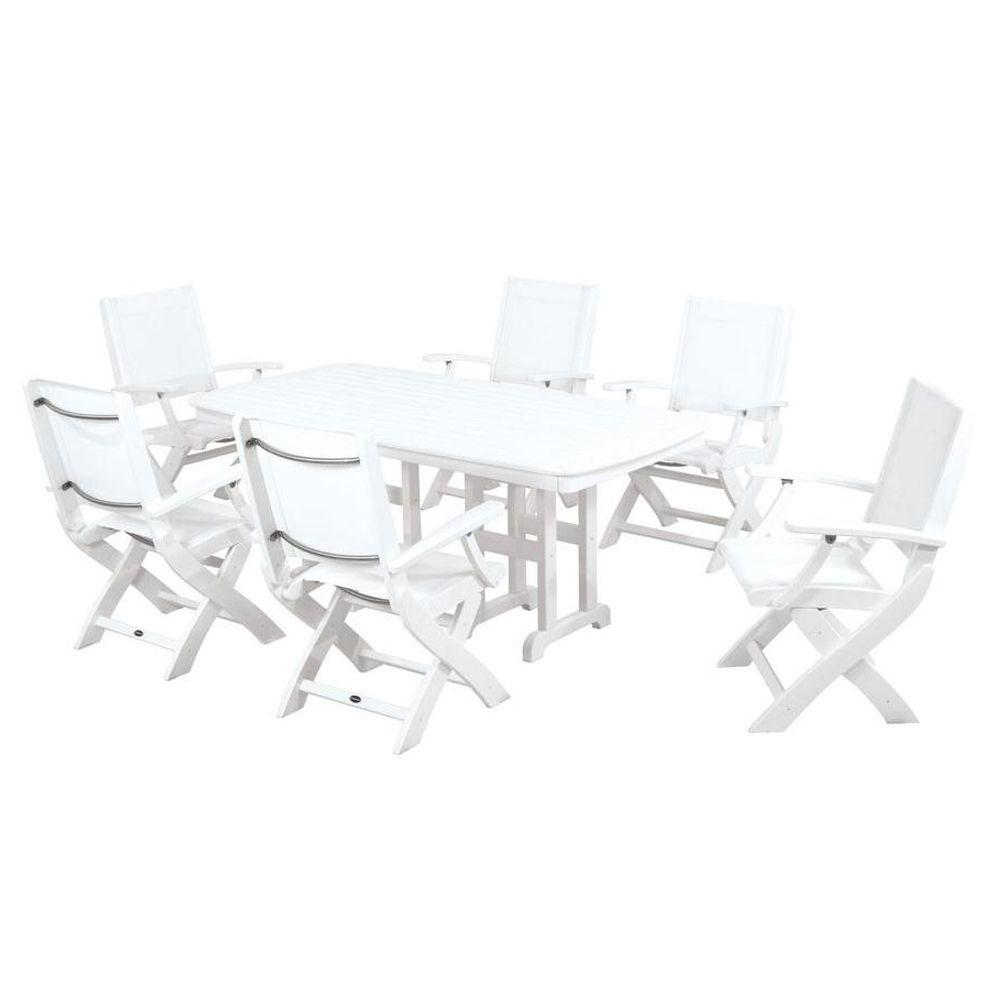 POLYWOOD Coastal White All Weather Plastic Dining Set In White Slings