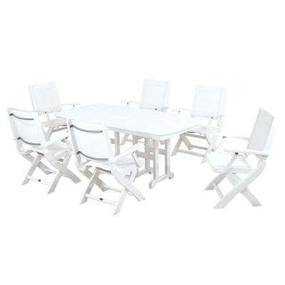 Coastal White All-Weather Plastic Dining Set in White Slings