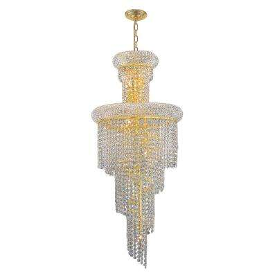 Empire Collection 10-Light Polished Gold Crystal Chandelier