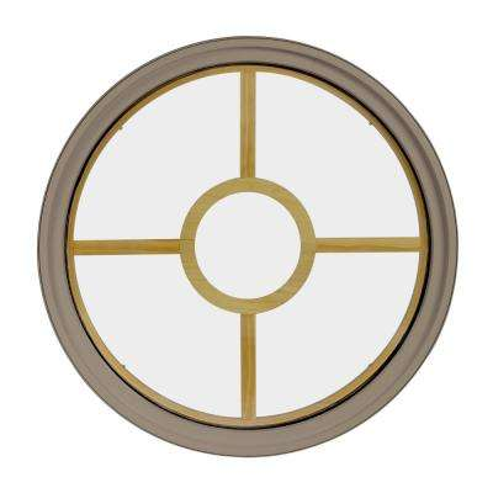 36 in. x 36 in. Round Sandstone 6-9/16 in. Jamb 5-Lite Grille Geometric Aluminum Clad Wood Window
