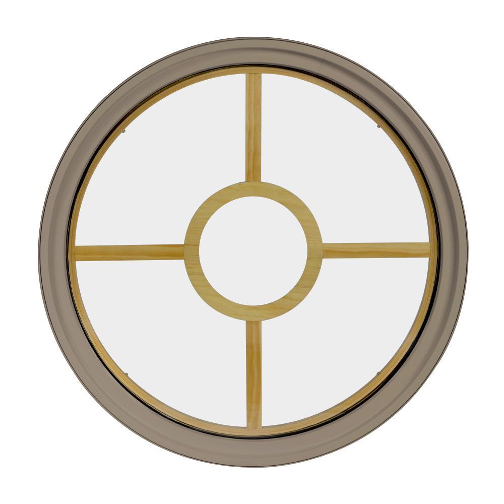 48 in. x 48 in. Round Sandstone 4-9/16 in. Jamb 5-Lite Grille Geometric Aluminum Clad Wood Window