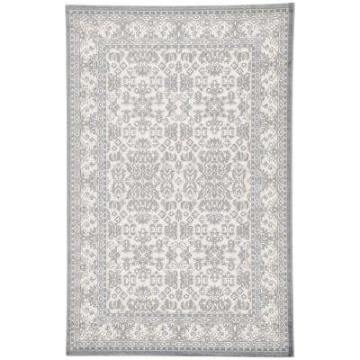 Machine Made Light Gray 8 ft. x 10 ft. Oriental Area Rug
