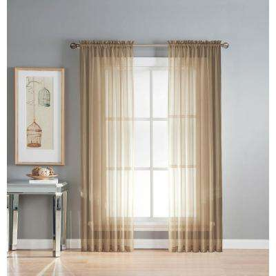 Sheer Sheer Elegance 84 in. L Rod Pocket Curtain Panel Pair, Taupe (Set of 2)
