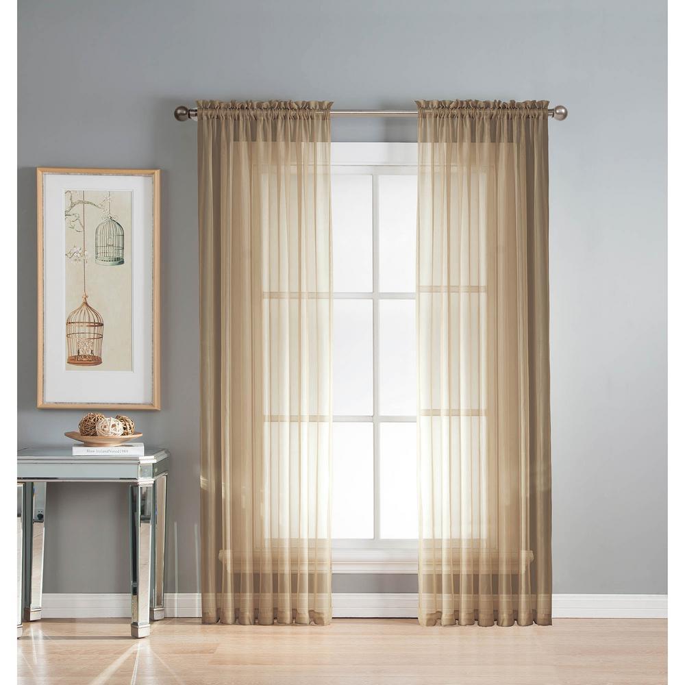Sheer Sheer Elegance 84 in. L Rod Pocket Curtain Panel Pair, Taupe (Set of 2)