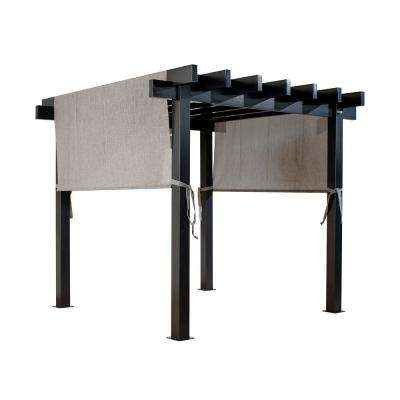 Yamba 10 ft. W x 13 ft. D Dark Gray Aluminum Pergola with Adjustable and Removable Gray Mesh Canopy