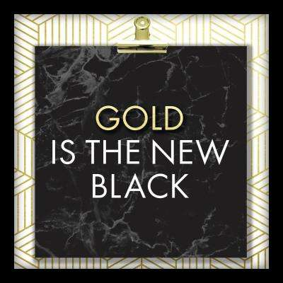 Gold Is The New Black 10 in. x 10 in. Shadowbox Wall Art