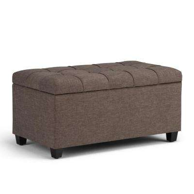Sienna Fawn Brown Linen Look Fabric Storage Ottoman