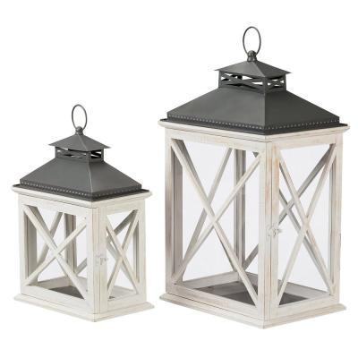 Home Decorators Collection Ivory Wood Candle Hanging or Tabletop Lantern with Metal Top (Set of 2)