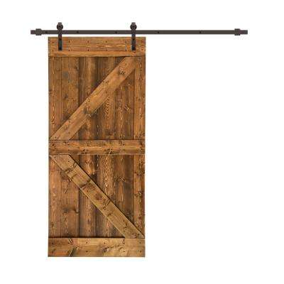 Distressed K 42 in. x 84 in. Walnut Stained Solid Knotty Pine Wood Interior Sliding Barn Door with Hardware Kit