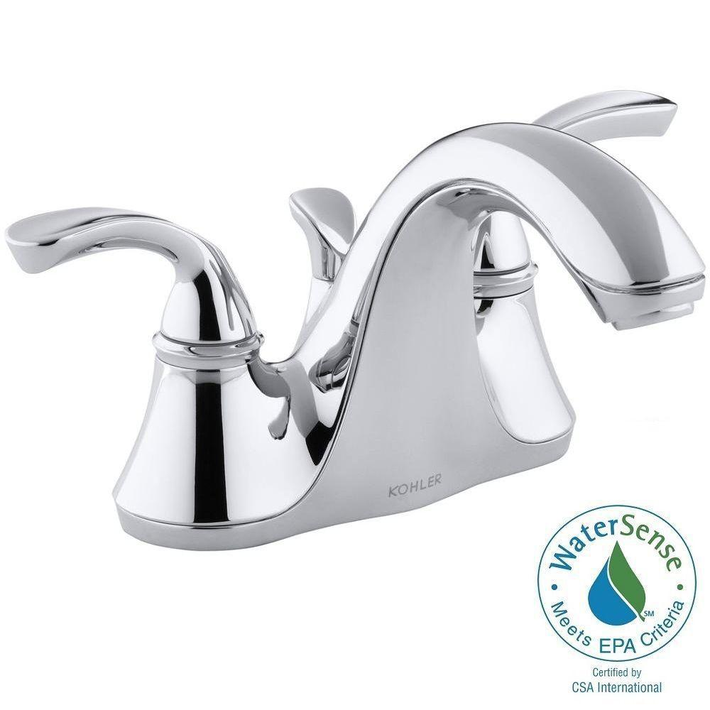 KOHLER Forte 4 in. Centerset 2-Handle Low-Arc Water-Saving Bathroom Faucet in Polished Chrome with Sculpted Lever Handles
