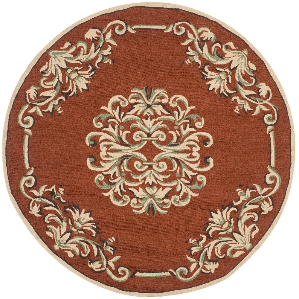 Easy Care Rust/Multi 6 ft. x 6 ft. Round Area Rug