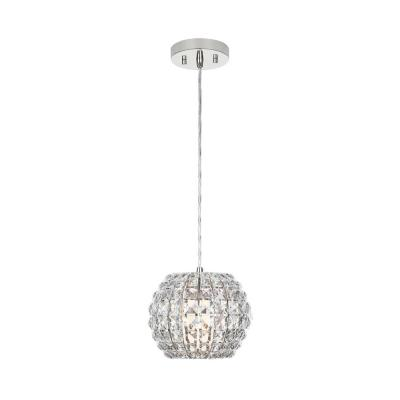 Beatrice 1-Light 8 in. Polished Nickel Crystal Mini Pendant