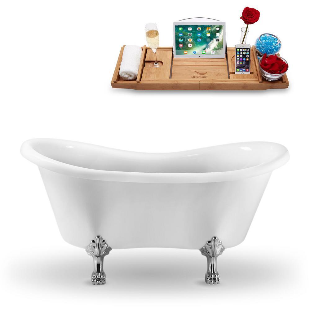 62.2 in. Acrylic Fiberglass Clawfoot Non-Whirlpool Bathtub in White