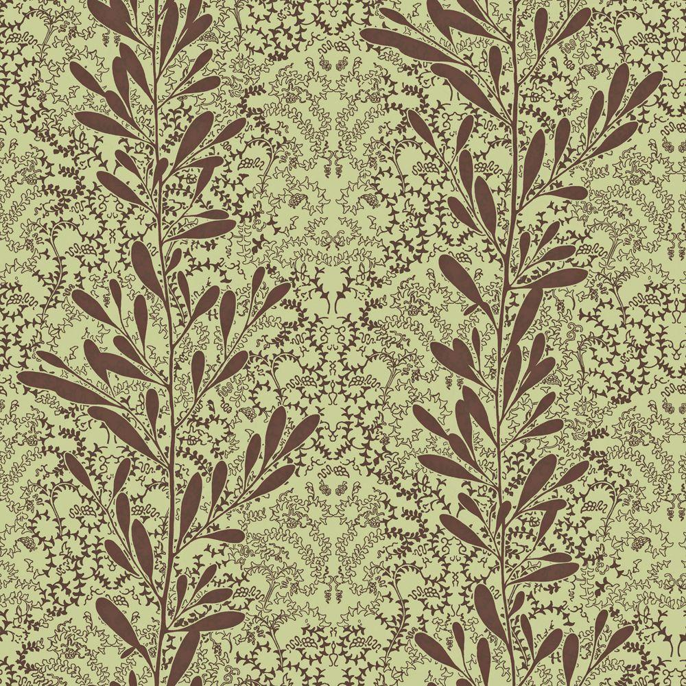 The Wallpaper Company 56 sq. ft. Brown and Green Modern Leaf Stripe on a Modern Lace Damask Wallpaper