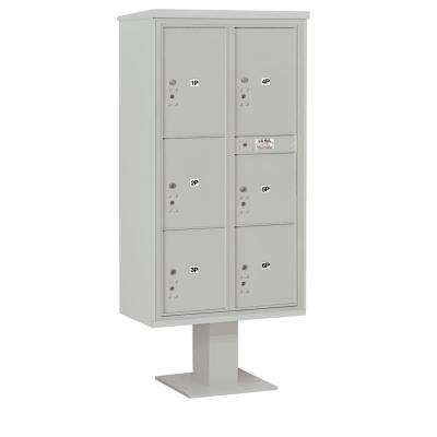 3400 Horizontal Series 6-Parcel Locker Pedestal Mount Mailbox