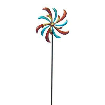 """Alpine Corporation 63"""" Tall Outdoor Curved Blade Windmill Stake Kinetic Spinner, Multicolor"""