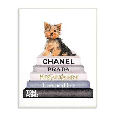 "13 in. x 19 in. ""Book Stack Yorkie Dog Glam Fashion Watercolor"" by Amanda Greenwood Wood Wall Art"