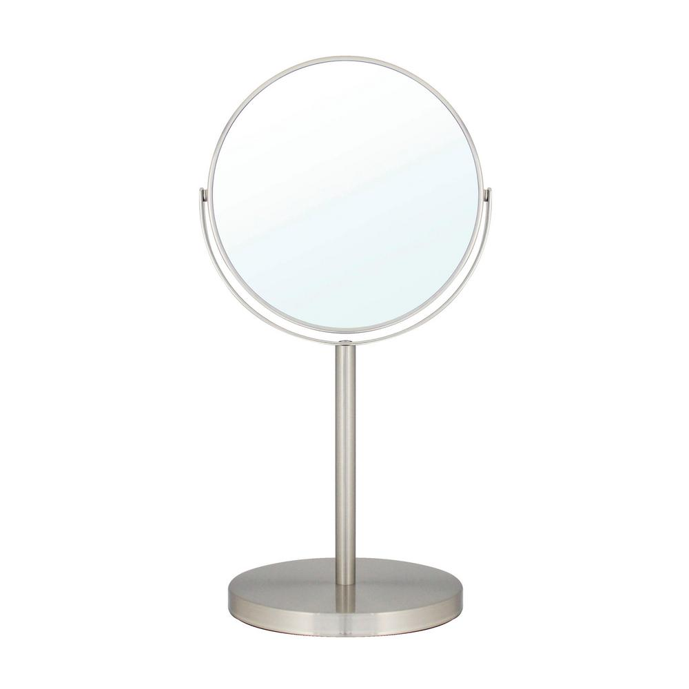 MODONA 6 in. 2-Sided 1X and 5X Counter Top 14 in. Magnifying Makeup Mirror in Satin Nickel