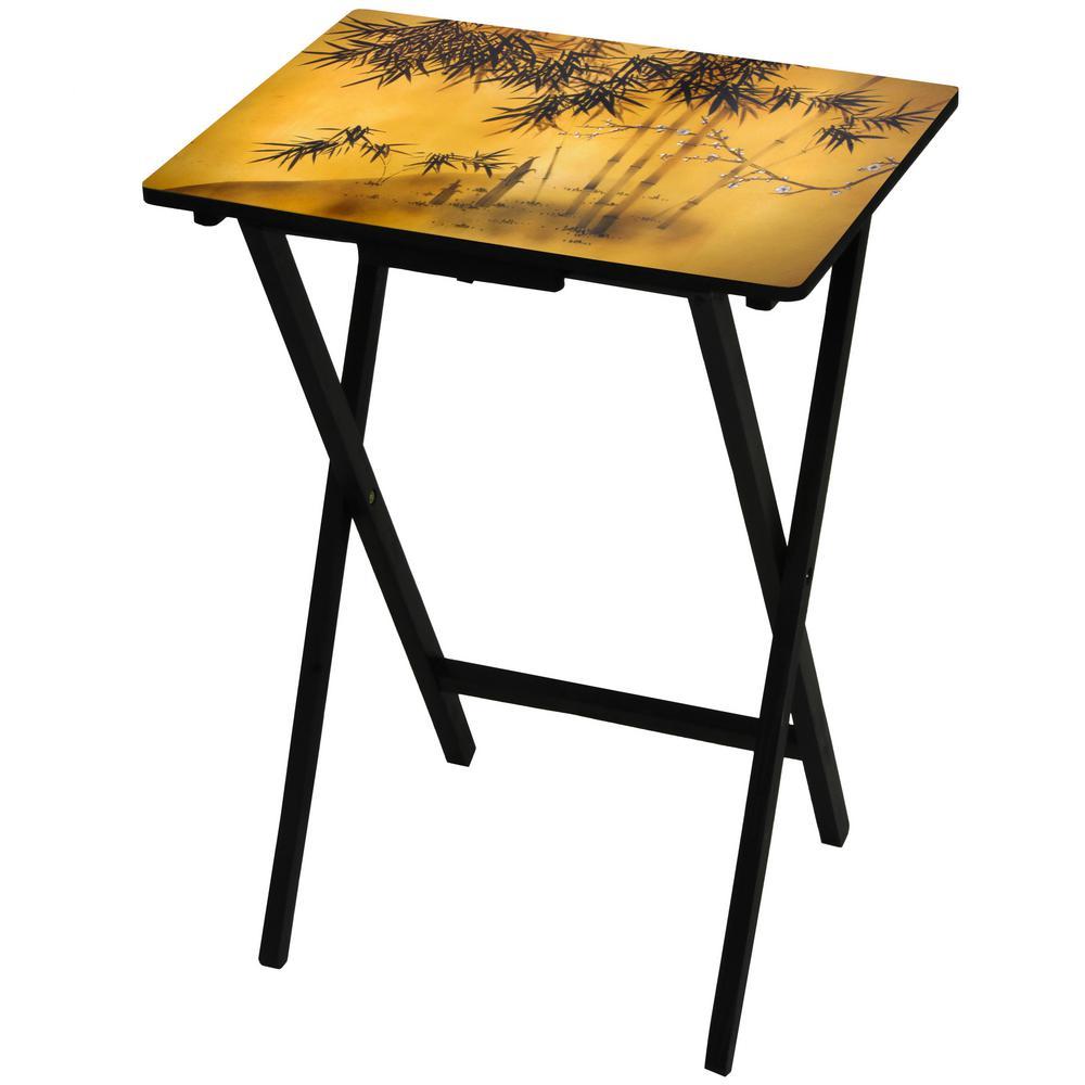 Oriental Furniture 19 in. x 13.75 in. Bamboo Tree TV Tray in Gold
