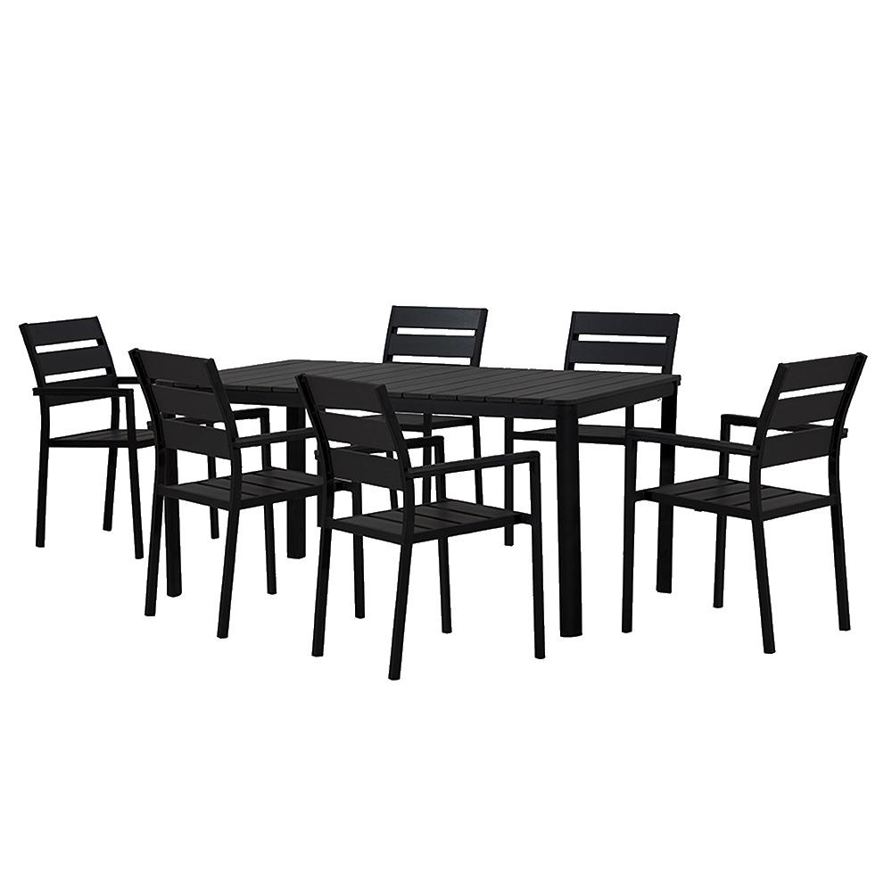 Attractive Modern Contemporary 7 Piece Black Metal Rectangular Outdoor Dining Set With  Faux Wood And Stackable