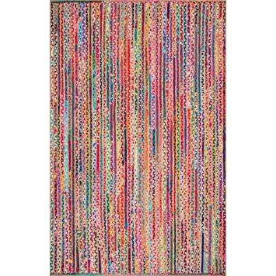 Aleen Braided Cotton/ Jute Multi 9 ft. x 12 ft. Area Rug