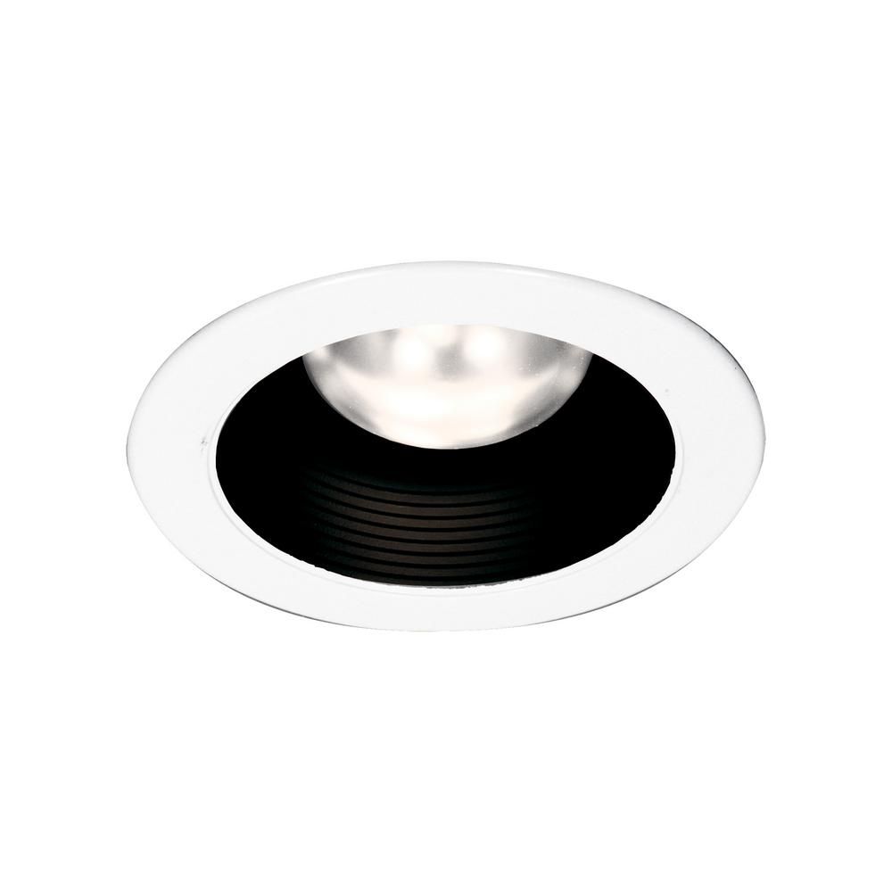 Thomas Lighting 4 In White With Black Baffle Recessed Trim