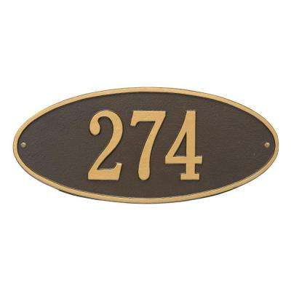 Madison Standard Oval Bronze/Gold Wall 1-Line Address Plaque