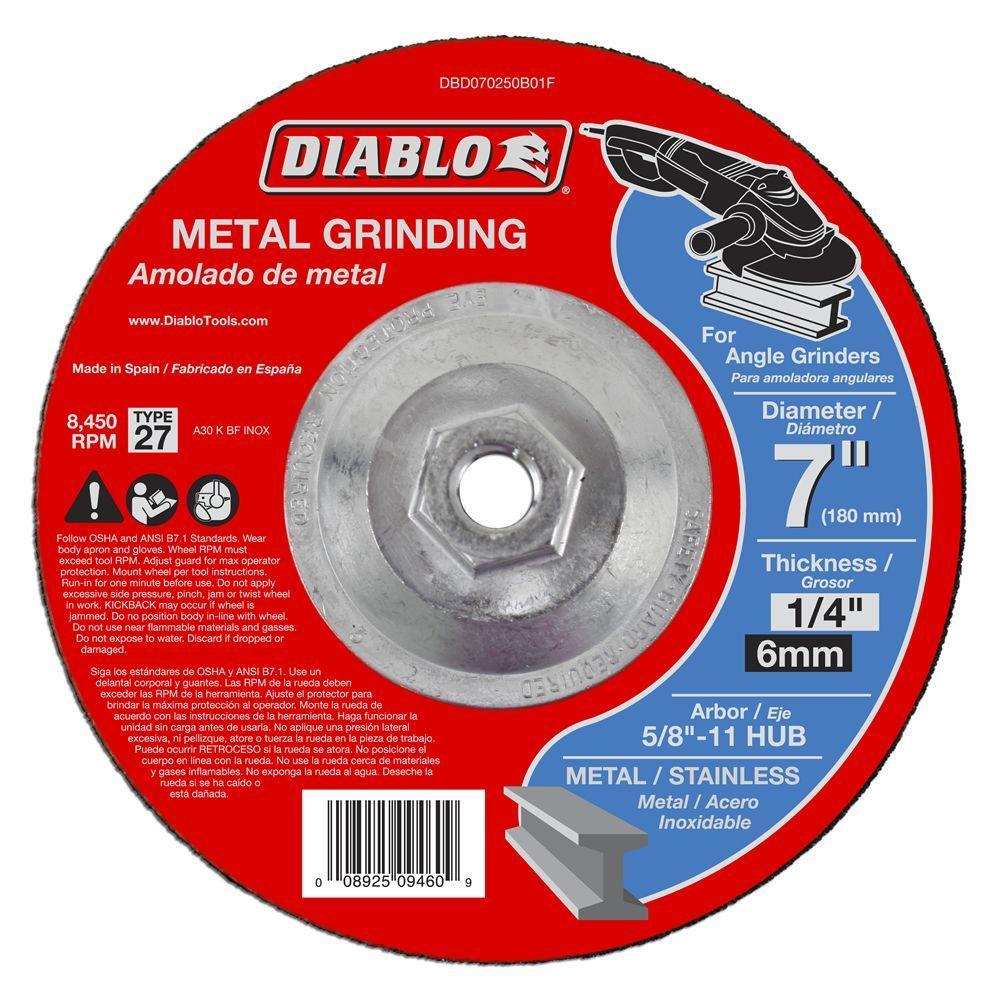 Diablo 7 in. x 1/4 in. x 5/8 in. 11 Arbor Metal Grinding Disc with Type 27 Depressed Center Hub