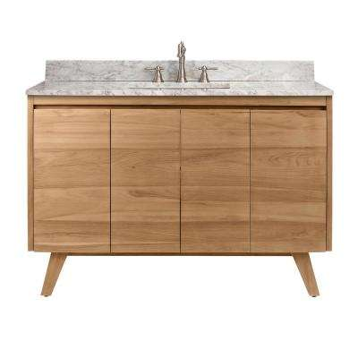 Coventry 49 in. Vanity in Natural Teak with Marble Top Vanity Top in Carrera White with White Basin