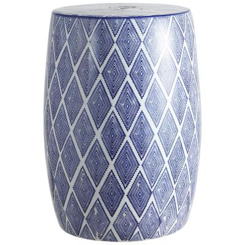 Moroccan Diamonds 18 in. Blue/White Ceramic Drum Garden Stool