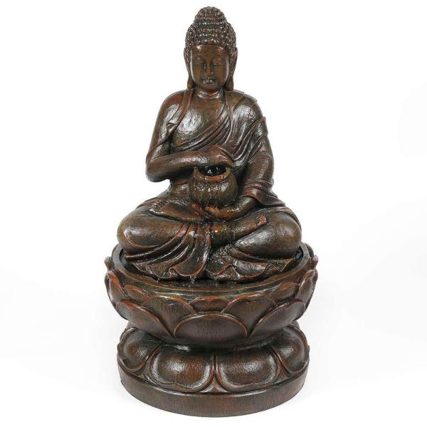Polyresin Sitting Buddha on Pedestal Patio Cascade Fountain with LED Lights