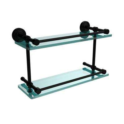 Waverly Place 16 in. L x 8 in. H x 5 in. W 2-Tier Clear Glass Bathroom Shelf with Gallery Rail in Matte Black