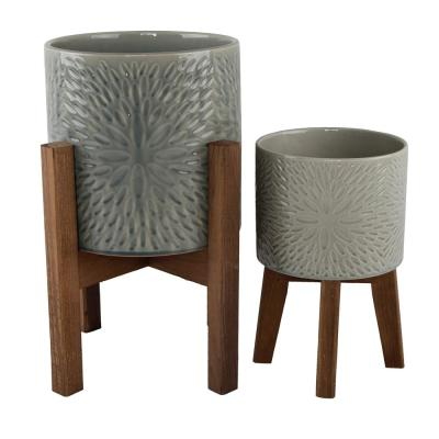 10 in. and 8 in. Olive Green Sunburst Ceramic Planter on Wood Stand Mid-Century Planter(Set of 2 )
